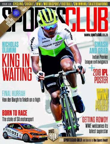 "Nicholas Dlamini on the Cover of TFG SportsClub Magazine, ""King in Waiting"